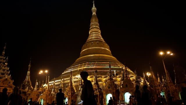 Shwedagon Pagoda at Night in Yangon Myanmar video