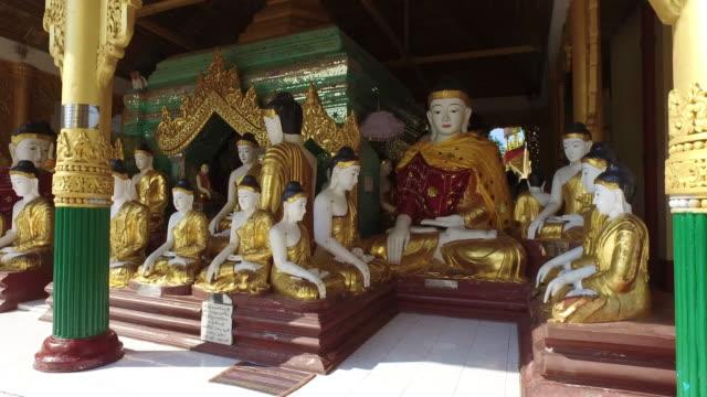 Shwedagon Pagoda Buddhas in Yangon, Myanmar video