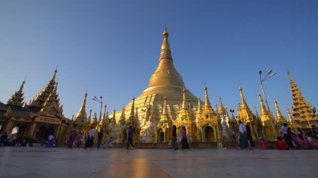 Shwedagon Pagoda in Yangon, Myanmar Shwedagon Pagoda in Yangon in Myanmar bagan stock videos & royalty-free footage