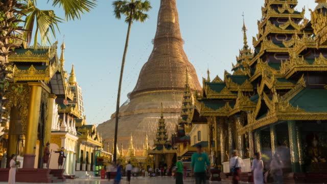 Shwedagon Pagoda Temple Yangon City, Myanmar Shwedagon Pagoda Temple Yangon City, Myanmar buddhism stock videos & royalty-free footage
