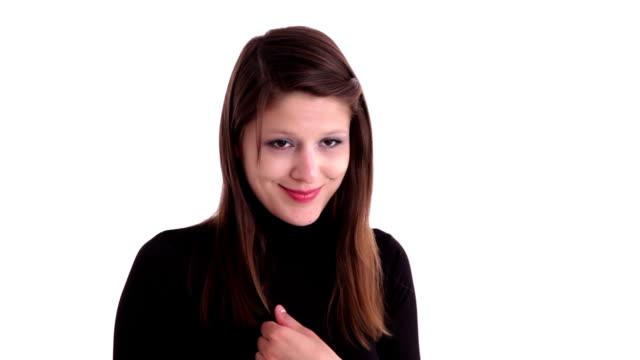 Shy brunette woman video