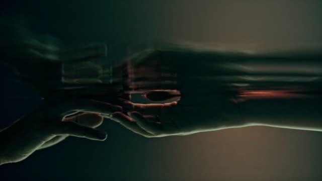 Shy, sensual touch. Underwater romance