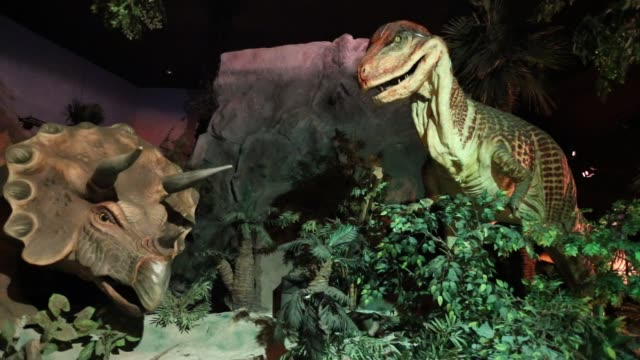 siam park city is amusement and water park in thailand. pavilion dinosaurs and mammoths - museo video stock e b–roll