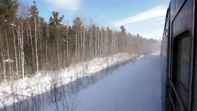 Siberian views from train window Looking out of the window of moving train somewhere in Siberia, Russia siberia stock videos & royalty-free footage