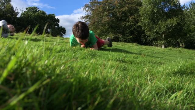 sibling children rolling down a fresh grassy hill in the summertime - rotolare video stock e b–roll
