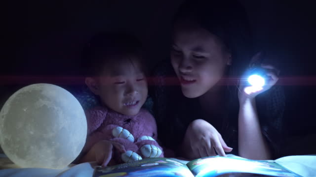 Sibling reading story before the bedtime