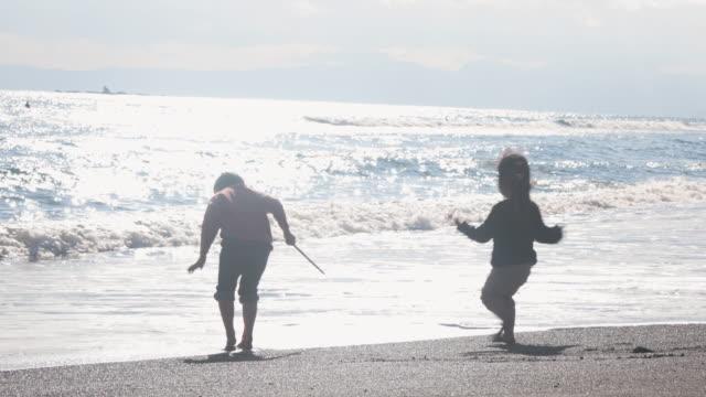 春のビーチで遊ぶ兄弟 - 兄弟姉妹点の映像素材/bロール