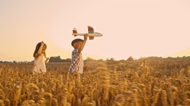 SLO MO Siblings playing with airplane in the field video