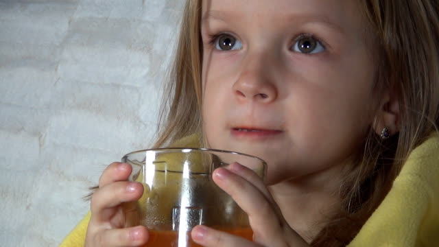 Sick Child, Suffering Little Girl Drinking Effervescent Vitamins for Immunity Sick Child, Suffering Little Girl Drinking Effervescent Vitamins for Immunity shivering stock videos & royalty-free footage