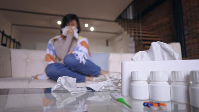 sick female at home