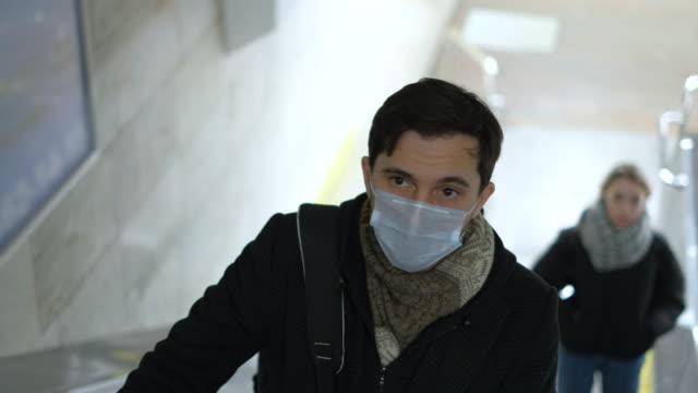 Sick Man in White Resperatory Mask in Usa or Europe. Novel Coronavirus public. video