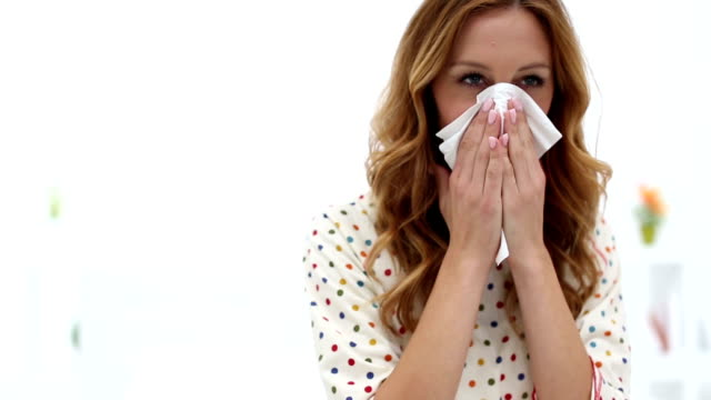 HD: Sick Woman Blowing Nose. video