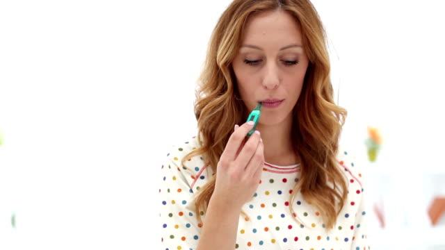 HD: Sick Woman Taking Temperature. video