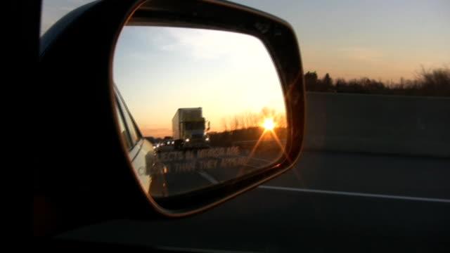 Side mirror sunset. video