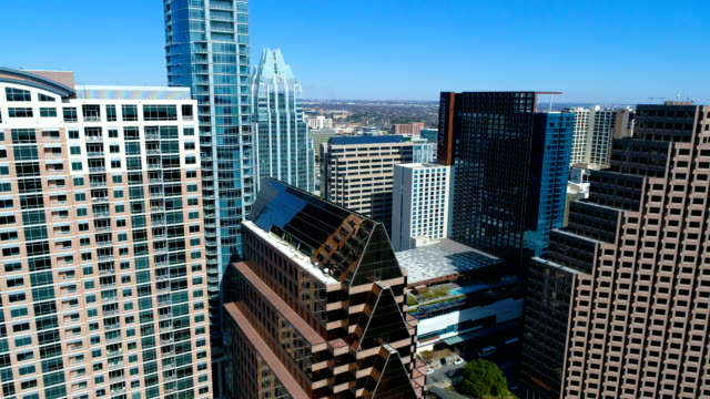 Side Pan High Skyline Cityscape Austin , Texas , USA video