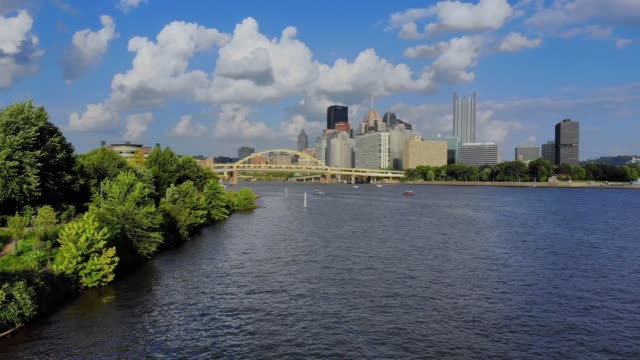 Side Rising Aerial Evening Establishing Shot of Pittsburgh video