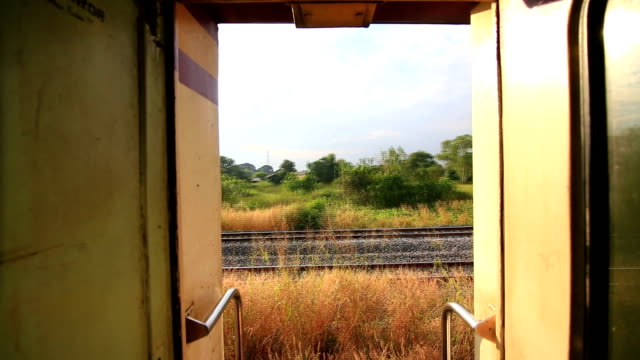 Side view from a passenger train. video