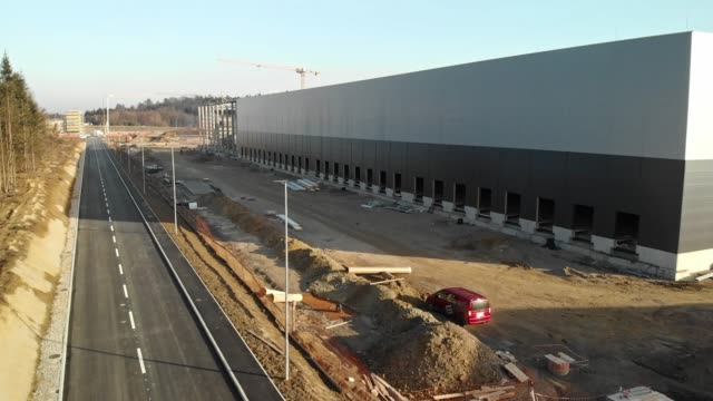 Side view of a storage facility construction site