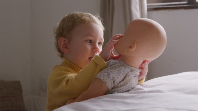 Side view of caucasian baby at home