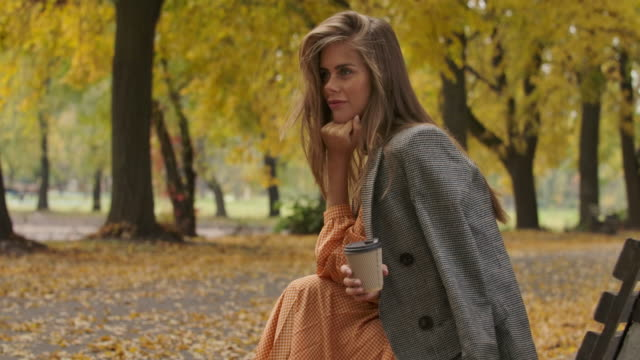 side view of charming caucasian woman with long brown hair and green eyes sitting on the bench in the autumn park. attractive girl holding a cup of coffee and smiling. cinema 4k footage prores hq. - садовая скамья стоковые видео и кадры b-roll