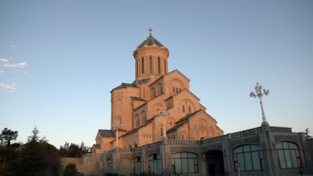 Side view of the Church of the Trinity Sameba, late afternoon sky