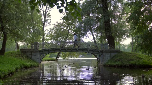 Side view of two young people in love walk through a small bridge in the park above the lake