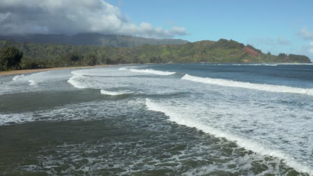 Side view of waves and surf rolling towards the beach at Hanalei on Hawaiian island of Kauai - video