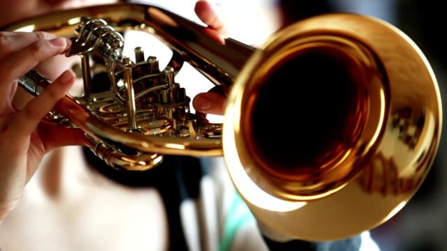 side-view of woman playing Flugelhorn / Trumpet video