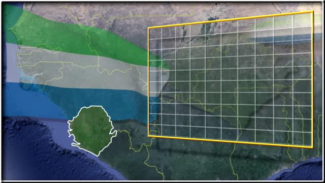 sierra leone bandiera e la mappa animazione full-hd - sierra leone video stock e b–roll