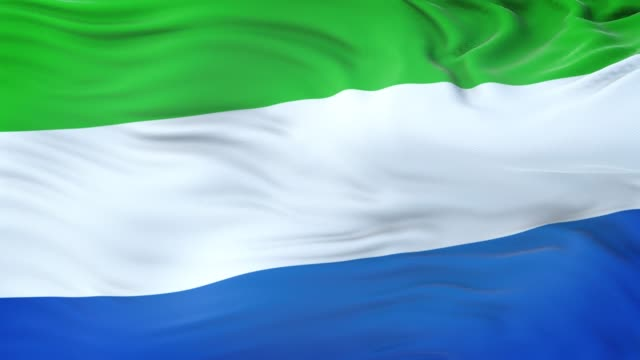 sierra leone flag waving in the wind with highly detailed fabric texture. seamless loop - sierra leone video stock e b–roll