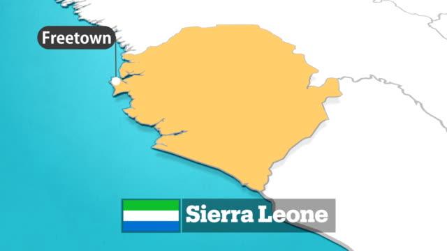 sierra leone karte mit fahne - kartographie stock-videos und b-roll-filmmaterial