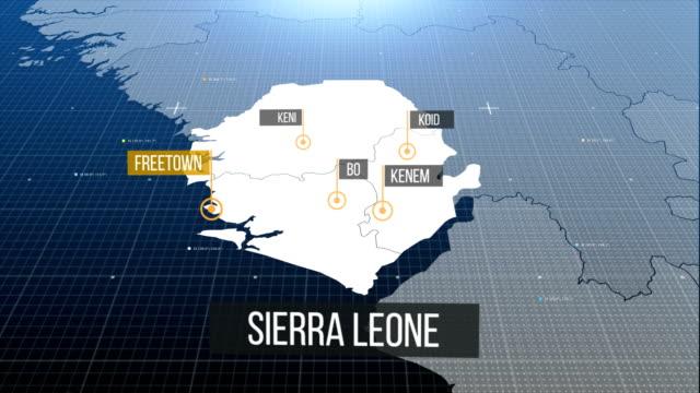 sierra leone map with label - sierra leone video stock e b–roll