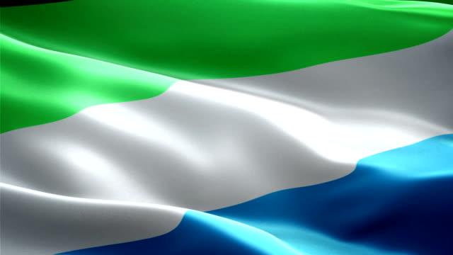 bandiera nazionale sierra leone. (nuova tensione e effetto di illuminazione - sierra leone video stock e b–roll
