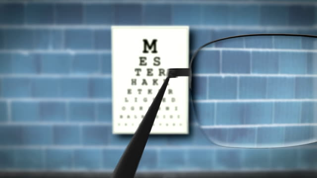 Sight exam HD Animation Nice animation of sight exam with glasses. eye chart stock videos & royalty-free footage
