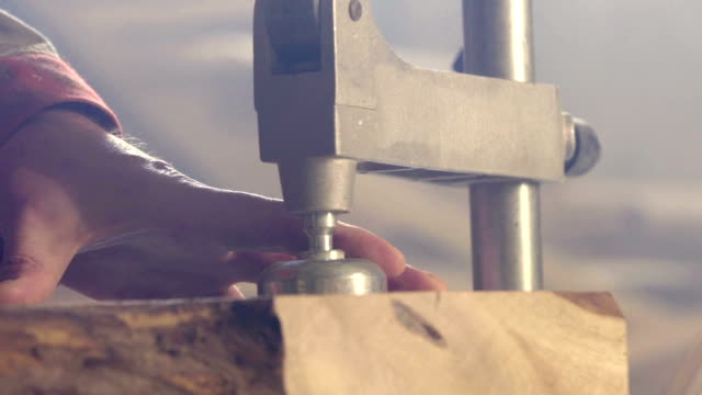 stockvideo's en b-roll-footage met de clap in een logbestand waargenomen - elektrisch gereedschap