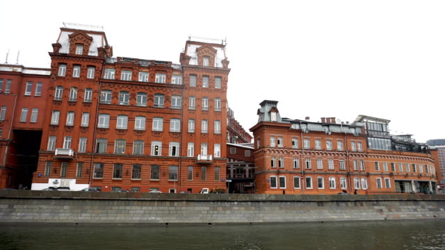 Sightseeing tour on the Moscow river view on Red October factory video