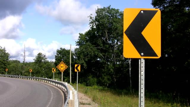 Sign at road corner. video
