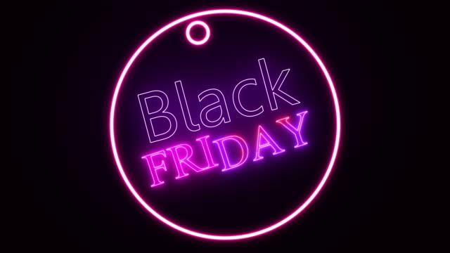 vídeos de stock, filmes e b-roll de sinal de texto black friday neon cor brilho movendo-se movimento abstrato de fundo de arte perfeita. conceito de venda - liquidação evento comercial