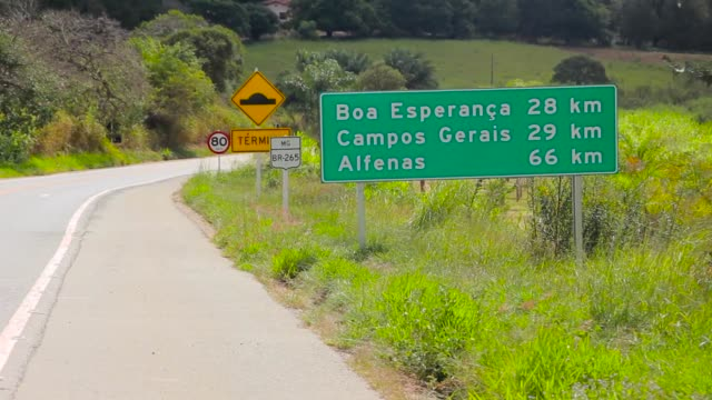 sign indicating the distance to some cities on a Brazilian road in minas gerais