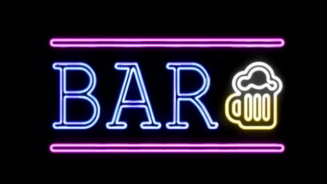 BAR Signe néon de Style rétro tournant sur - Vidéo