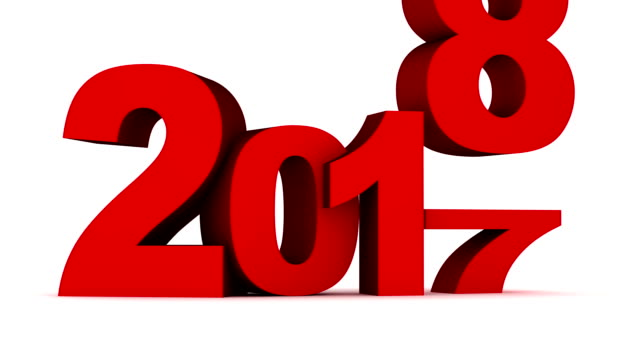 Sign new year 2018 on white background and alpha channel. video