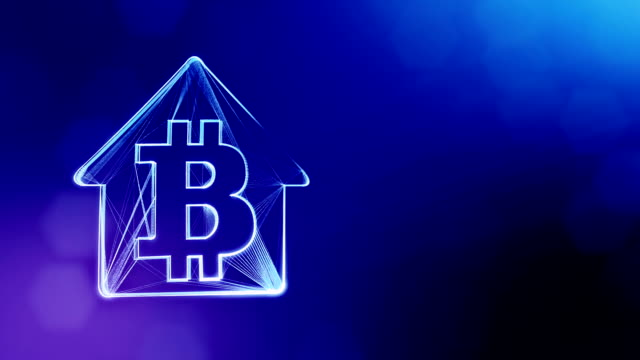 Sign of logo bitcoin inside the emblem of the house. Financial background made of glow particles as vitrtual hologram. Shiny 3D loop animation with depth of field, bokeh and copy space. Blue background 1 logo bitcoin inside the emblem of the house. concept of mortgage for bitcoins. housing logo stock videos & royalty-free footage
