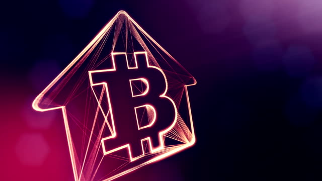 Sign of logo bitcoin inside the emblem of the house. Financial background made of glow particles as vitrtual hologram. Shiny 3D loop animation with depth of field, bokeh and copy space. Violet V4 logo bitcoin inside the emblem of the house. concept of mortgage for bitcoins. housing logo stock videos & royalty-free footage