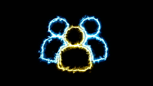A sign of many people, a silhouette in a glowing energy aura. Two color solutions
