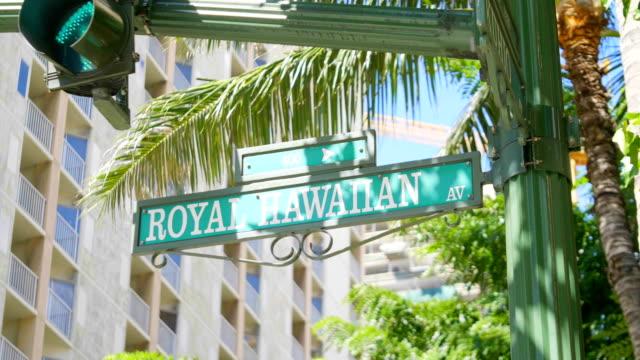 Sign street in Honolulu Hawaii in 4K Slow motion video