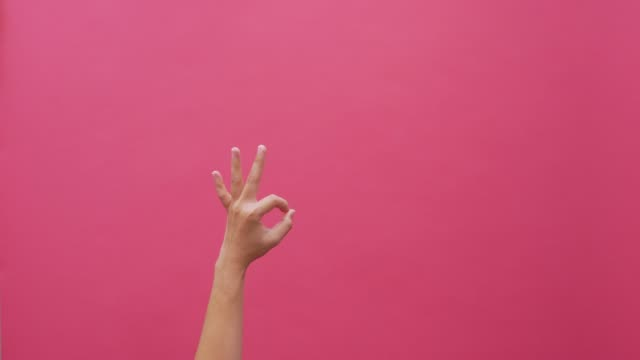 Signs language hand isolated pink background 4k