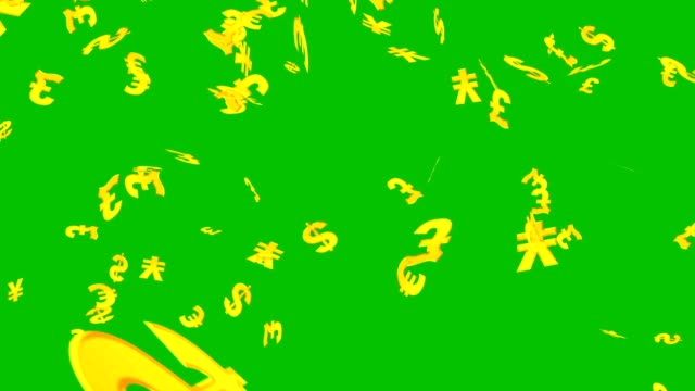 Signs of dollar, euro, pound and yen falling on the green screen