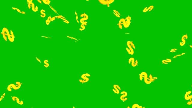 anzeichen für einen dollarverfall auf dem grünen bildschirm - dollarsymbol stock-videos und b-roll-filmmaterial