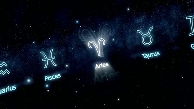 vídeos de stock e filmes b-roll de signs of zodiac - astrologia