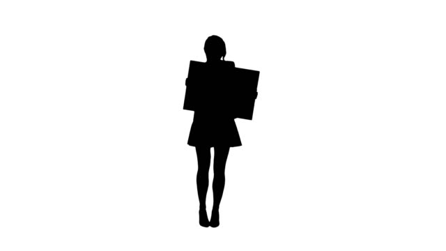 Silhouette A stylish woman dancing and holding empty poster